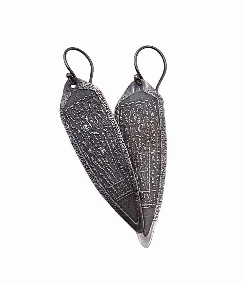 Sterling Silver Shield Earrings