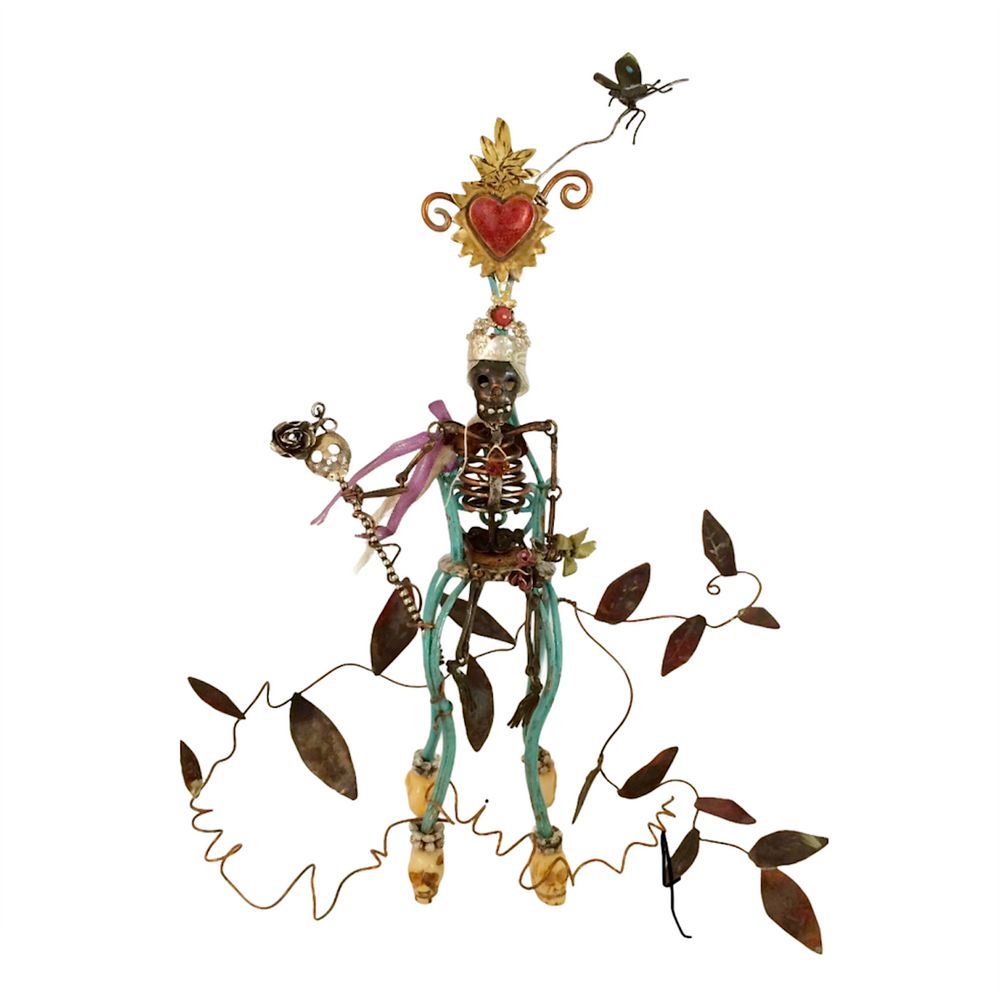 """Hand fabricated little Day of the Dead sculpture. Jointed, fine & sterling silver/copper/brass/bone/paint/ thread/ 18k  gold/ruby/tourmaline. 5"""" tall, 6 - 7"""" wide. Designed and completely handmade down to the tiniest detail by, J A Lindberg."""