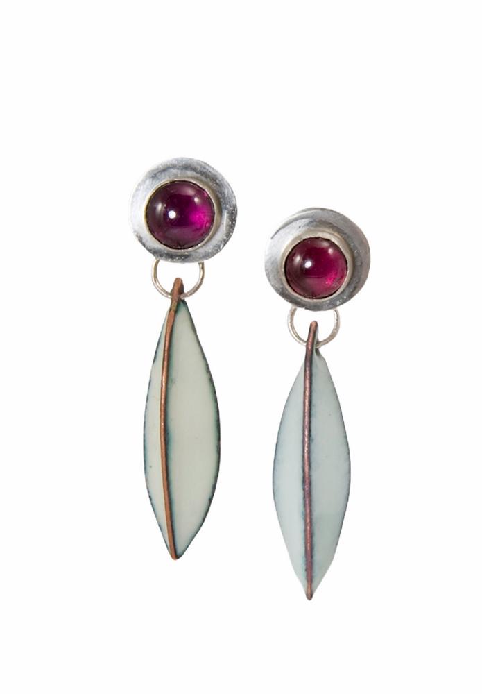 Sterling silver and rhodolite garnet post earrings  with enamel pod drops