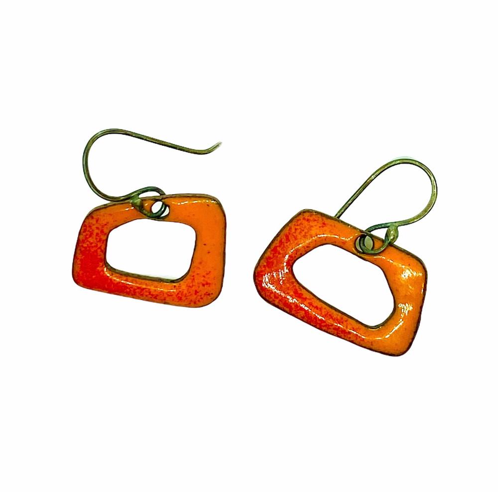 Orange Retro Shapes Earrings