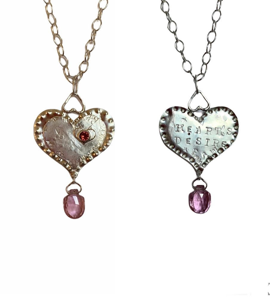 """Sterling and fine silver 3 hearts necklace w/ruby and tourmaline. Message on reverse,""""Heart's Desire"""". 16-17"""" long fine silver chain. One of a kind, designed and handmade by, J A Lindberg"""