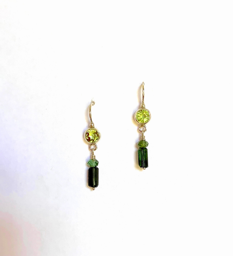 "1"" sterling silver earrings w/ peridots and tourmalines. Great for everyday. designed and handmade by, J A Lindberg."