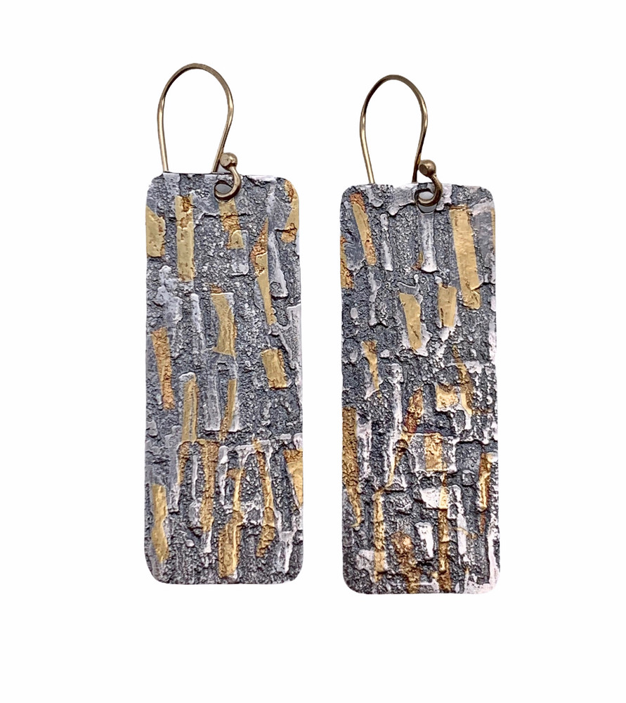 24K Gold Keum Boo and Fine Silver Etched Earrings with 14K GF Earwires