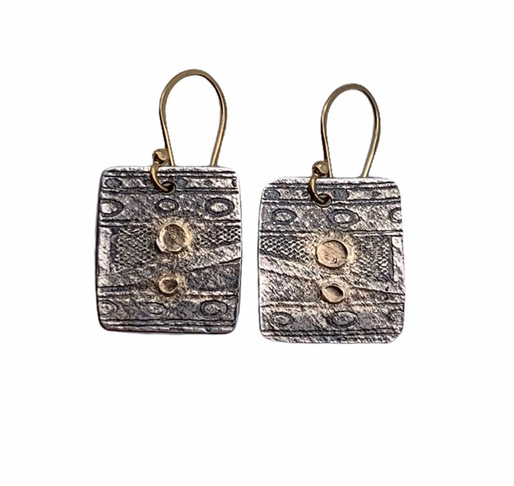 22K Gold and Sterling Silver 2 Dot Oxidized Earrings with 14K GF Ear Wires