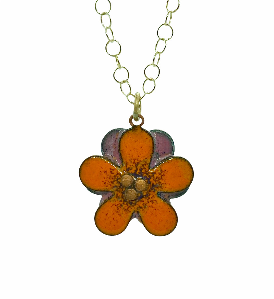 Orange and Pink Enamel Flower Pendant