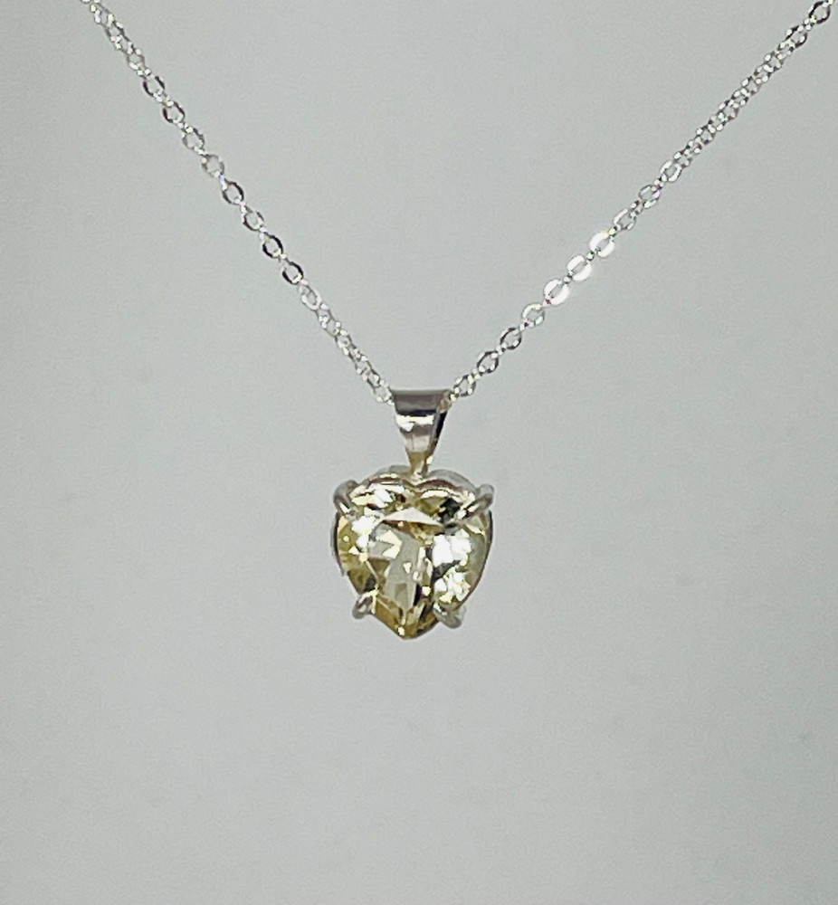 Sterling silver and faceted yellow labradorite heart pendant