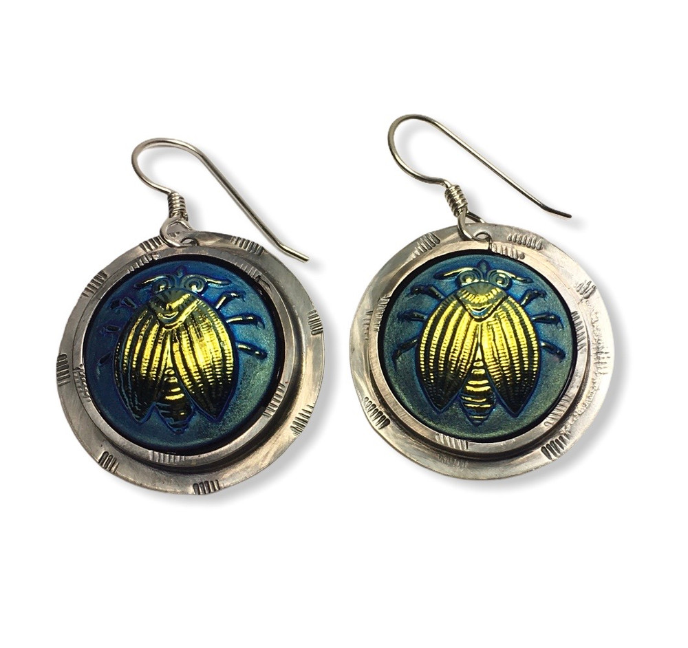 IRIDESCENT GLASS BUG EARRINGS SET IN STERLING SILVER WITH STERLING SILVER EAR WIRES