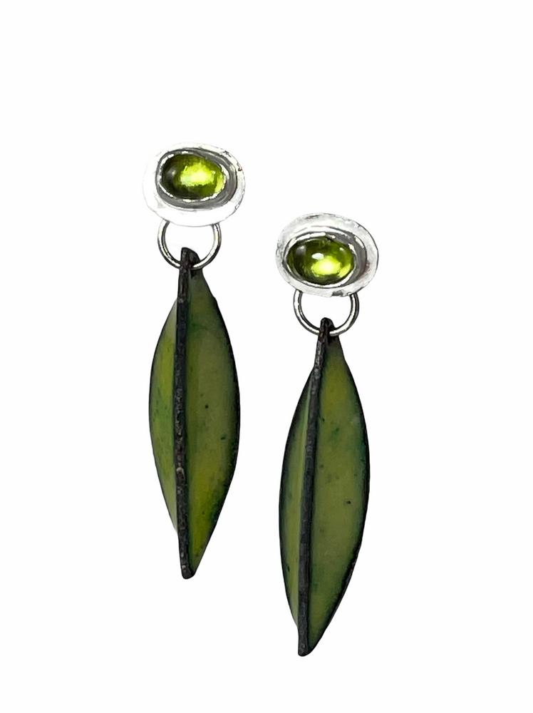 Sterling silver, peridot and green enamel pod earrings