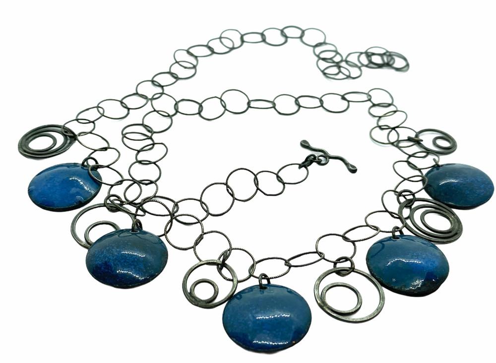 Blue & Red Enamel Bing Bong Necklace