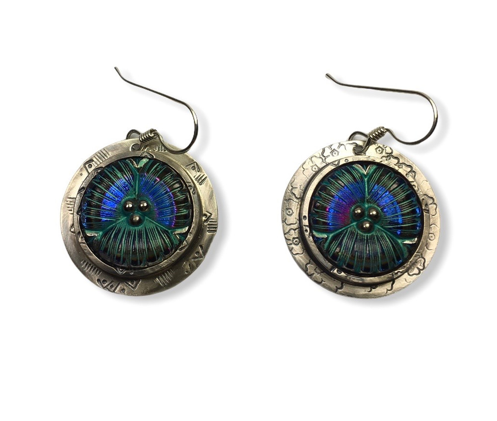 """IRIDESCENT GLASS FLOWER EARRINGS SET IN STERLING SILVER STAMPED AND OXIDIZED WITH SILVER EAR WIRES - 1"""""""