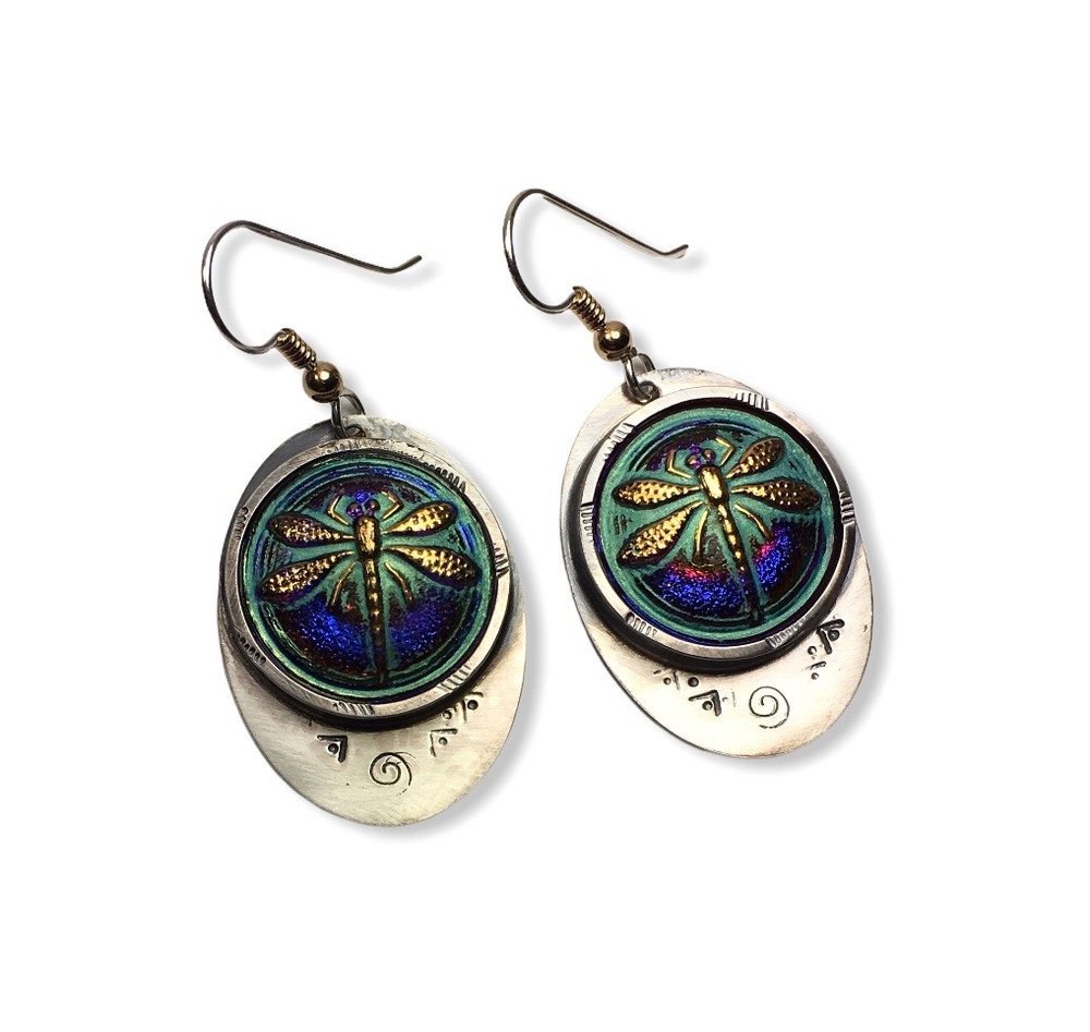 IRIDESCENT BLUE GLASS DRAGONFLY EARRINGS SET IN OVAL STAMPED STERLING SILVER WITH SILVER EAR WIRES