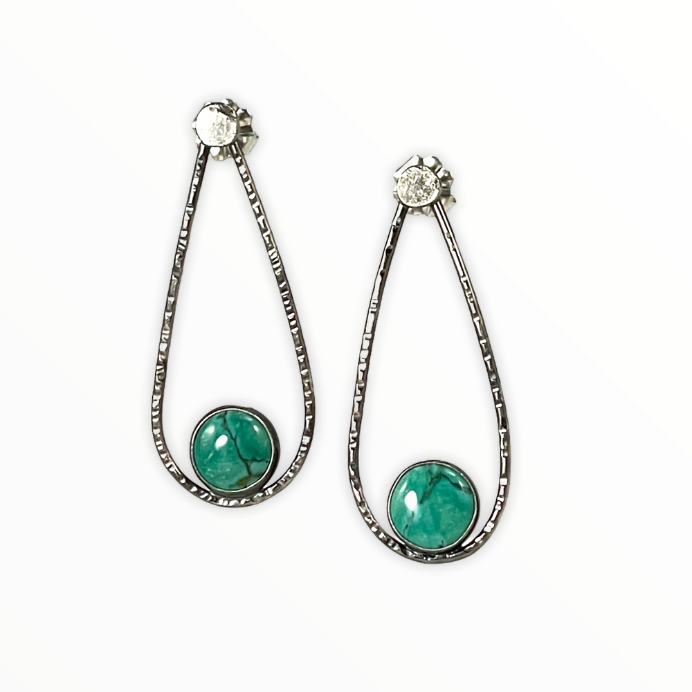 Oxidized sterling silver and turquoise tear drop earrings