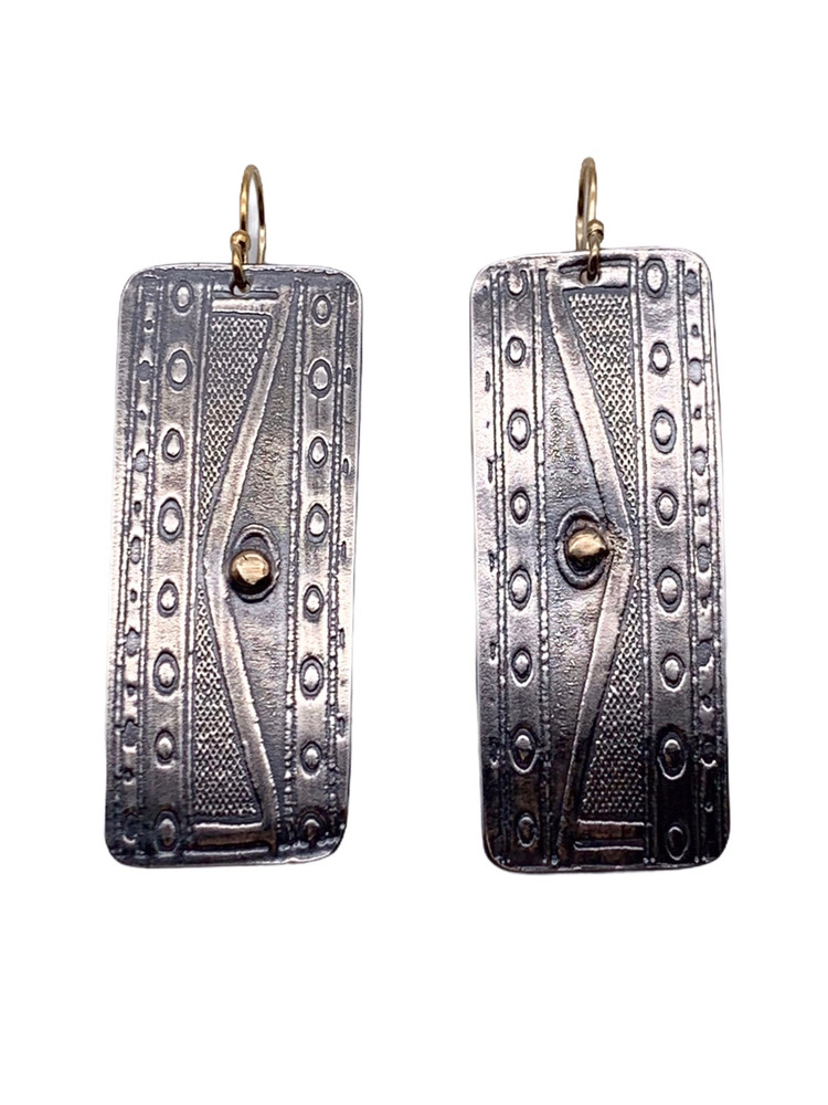 Sterling Silver and 22K Gold Geometric Earrings with 14K GF Earwires
