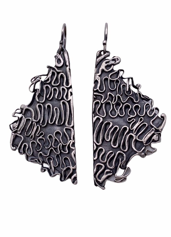 Sterling Silver Oxidized Wave Earrings