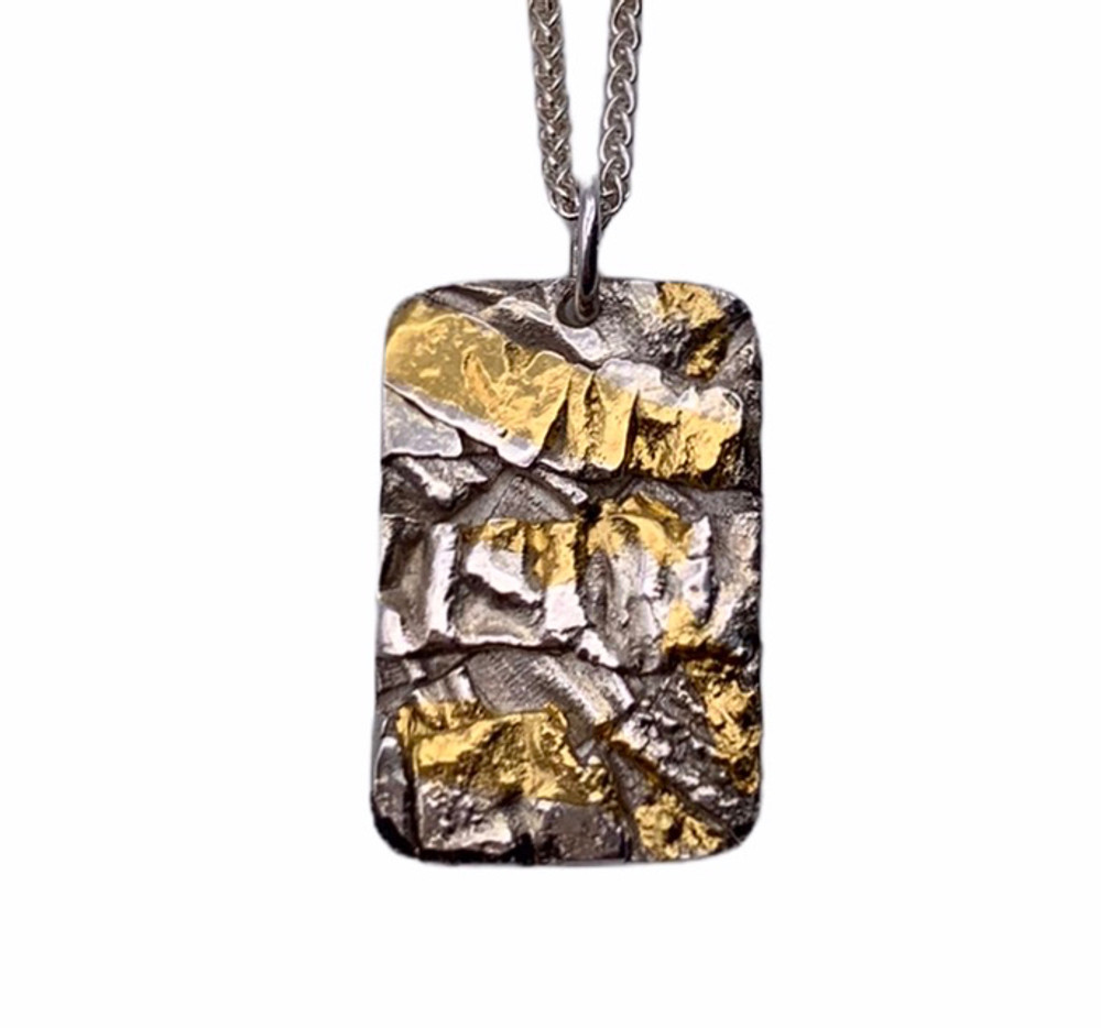 """Sterling Silver and 24K Keum Boo Fused Pendant with 18"""" wheat chain"""