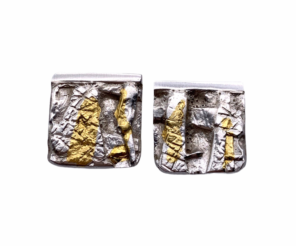 Sterling Silver and 24K Gold Keum Boo Square Post Earrings