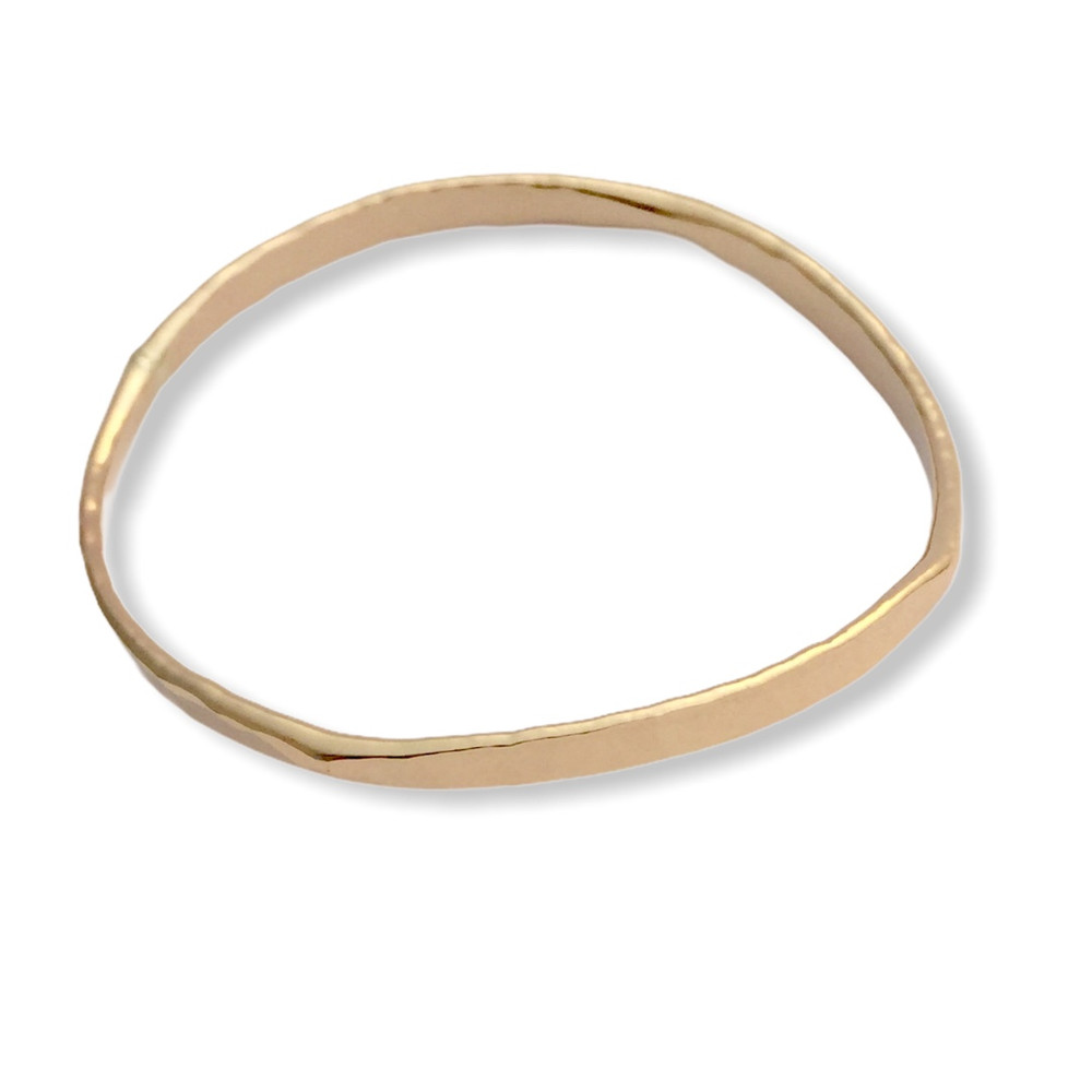 Hand forged 14K gold filled bangle.