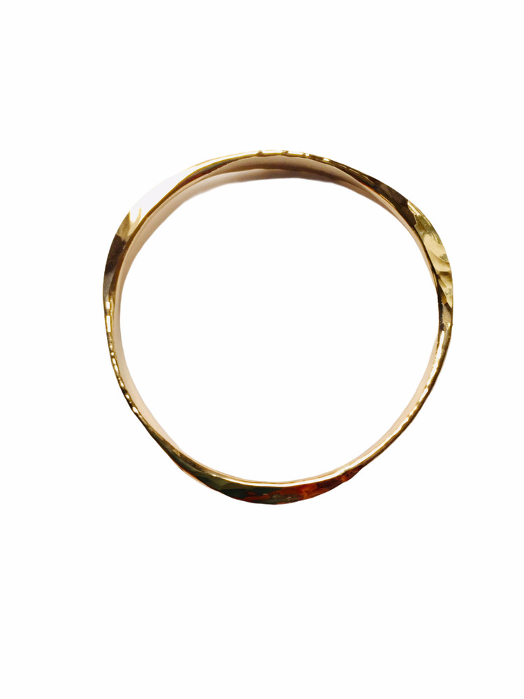 Hand forged 14K gold filled bangle, triangle