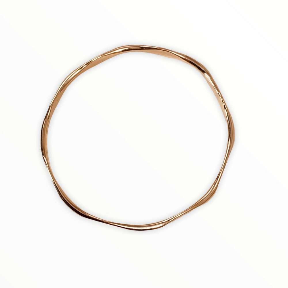 Hand forged 14K gold filled bangle, faceted 2