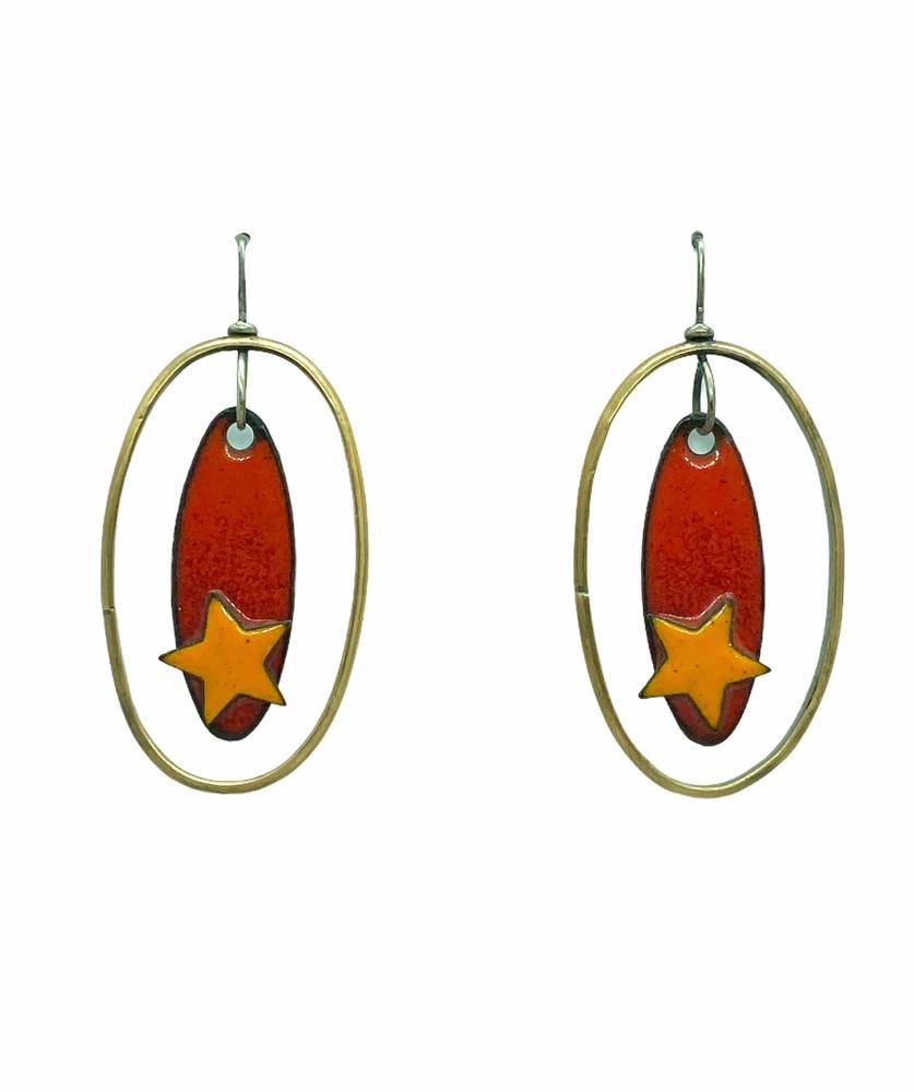 Oval Star Earrings