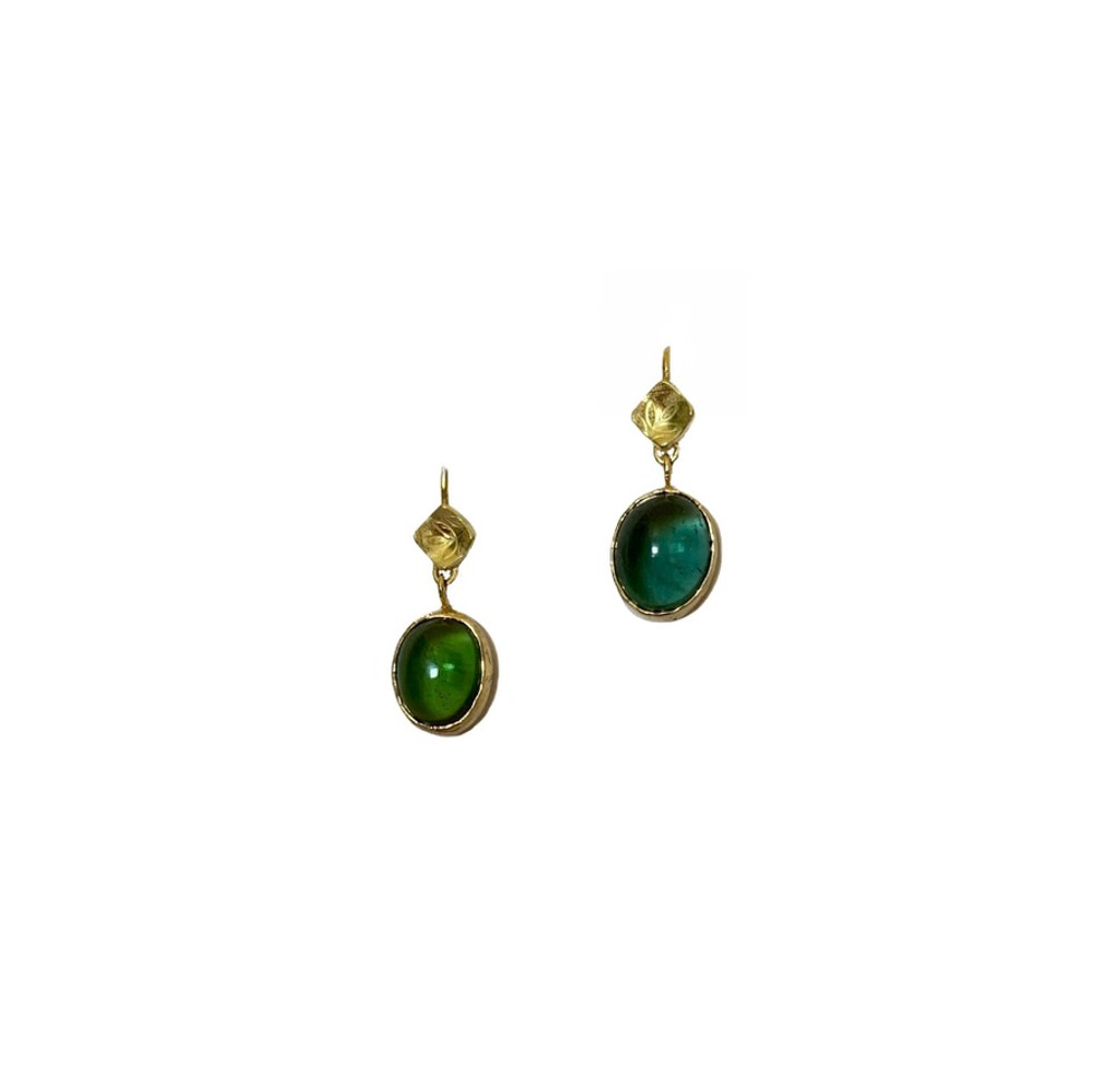For day or evening any time of year. 14k gold earrings with 9 x 11 oval tourmalines, 1 blue, 1 green.Completely designed and handmade by, J A Lindberg. One of a kind.