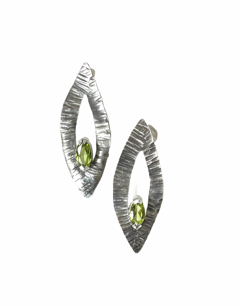 Oxidized sterling silver and faceted pridot earrings