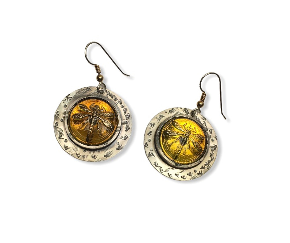 IRIDESCENT YELLOW GLASS DRAGONFLY EARRINGS SET IN STAMPED STERLING SILVER AND EAR WIRES WITH GOLD FILL TWIST ACCENT ON SILVER