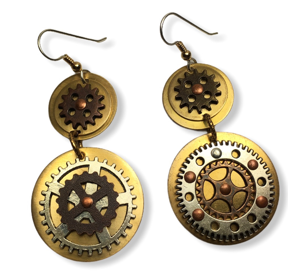 STEAMPUNK BRONZE CAST ELEMENTS RIVETED TO BRASS EARRINGS WITH GOLD FILL AND SILVER EAR WIRES AND GOLD FILL JUMP RING