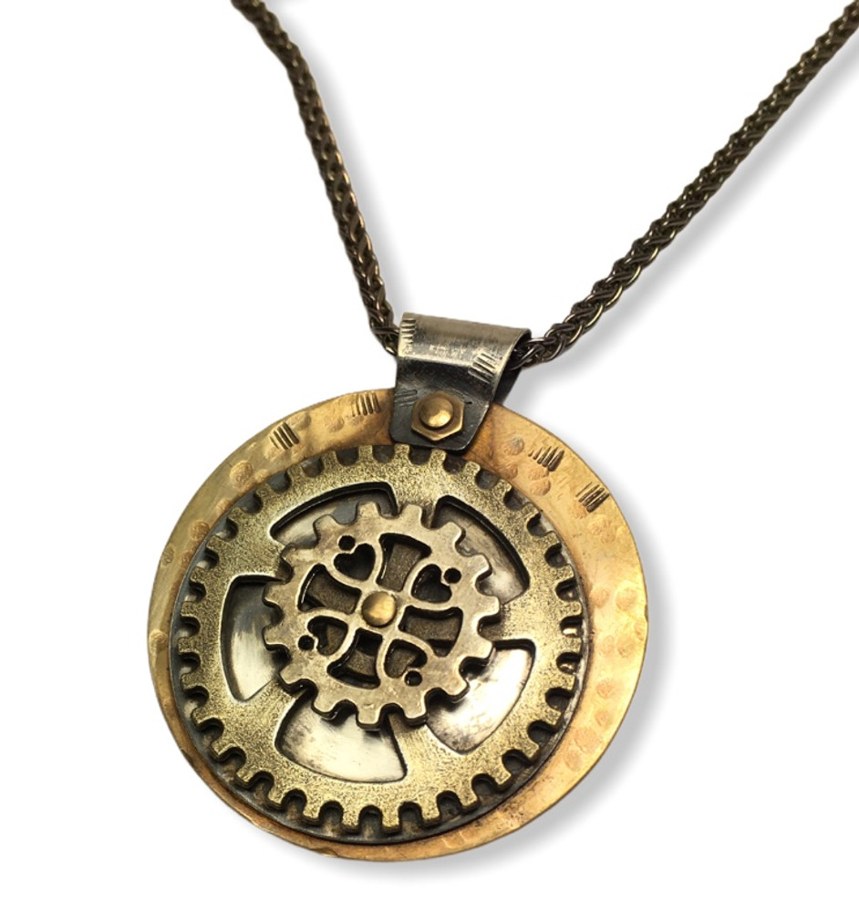 """PENDANT WITH CAST BRONZE GEARS, OXIDIZED HAMMERED COPPER, STERLING SILVER,ON A BRASS DISC, BRASS RIVETS,2.5 STERLING SILVER WHEAT CHAIN 18"""""""