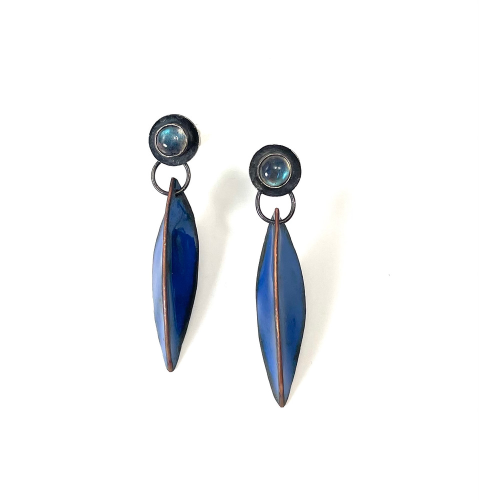 Lapis enamel and oxidized sterling silver earrings with labradorite