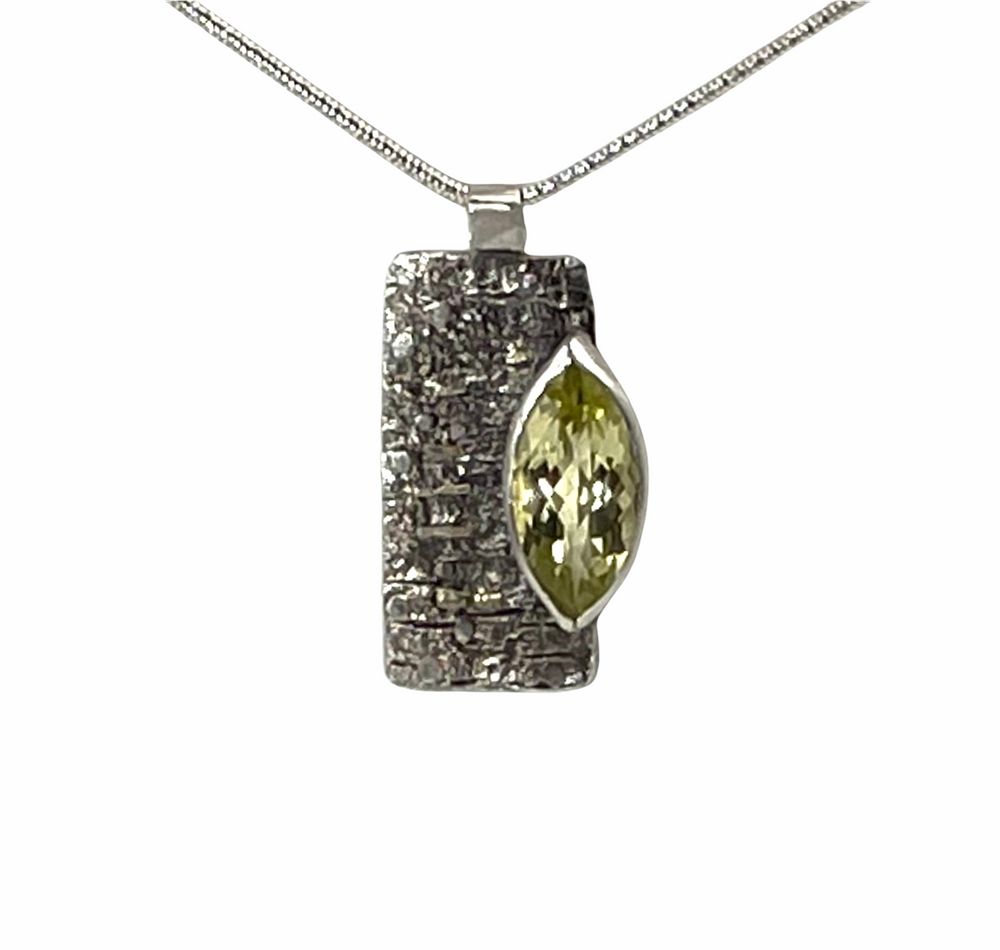 Textured sterling silver and large marquise lemon topaz pendant