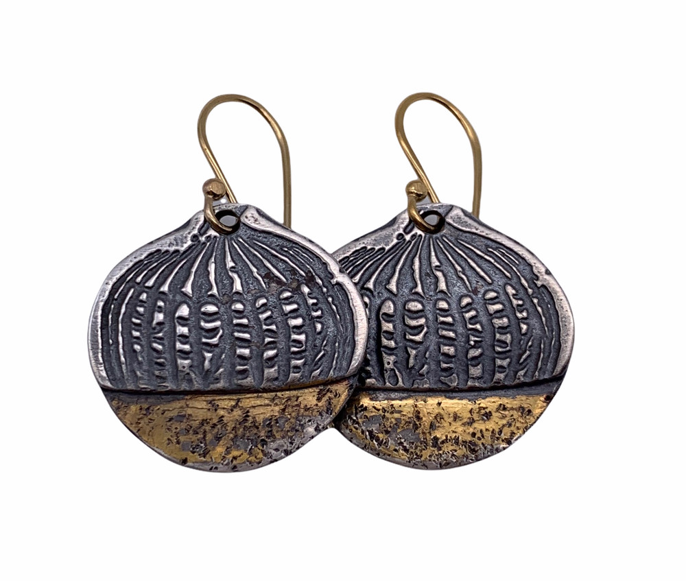 Sterling Silver and 24K Gold Oxidized Keum Boo Etched Pumpkin Earrings