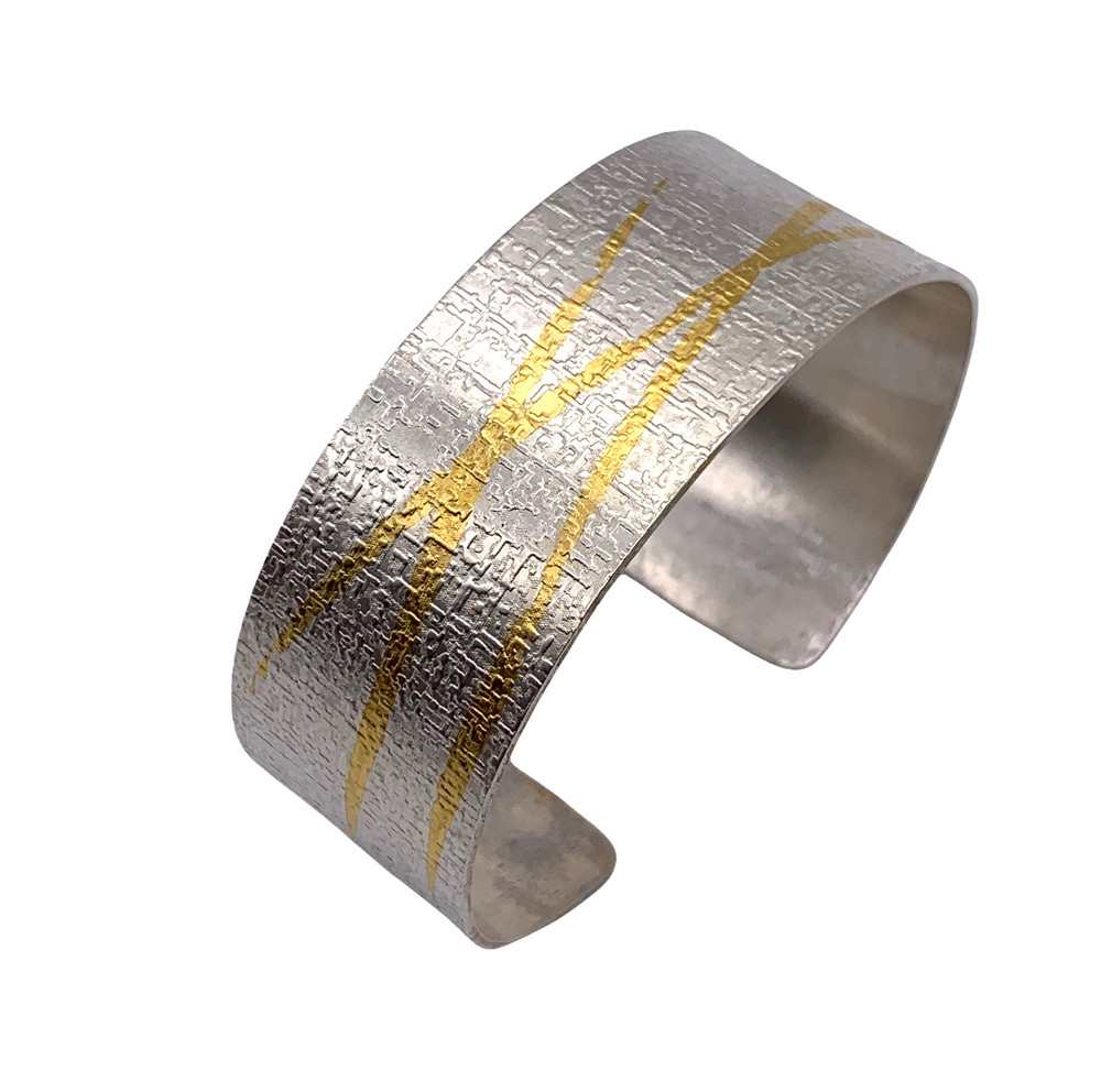 Sterling Silver and 22K Gold Etched Keum Boo Cuff
