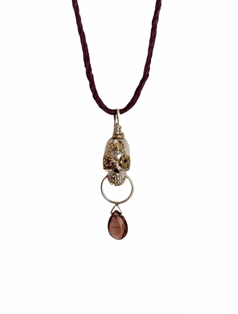 Tiny sterling skull necklace /pink stone