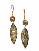 Green pearl and enamel earrings