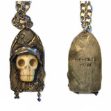 """Sterling/ bone/ black diamond skull pendant on sterling chain, message """"Memento mori"""" on back. (Remember you're mortal). One of a kind. For men or women. designed and all hand fabricated by,    J A Lindberg"""