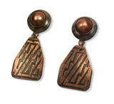"""Rustic Earrings - sterling silver, enameled disc,with etched copper dangle  silver posts   .75"""" x1.75"""""""