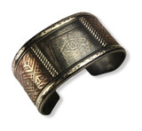 Rustic etched sterling silver and copper cuff.  Large men size  35MM wide