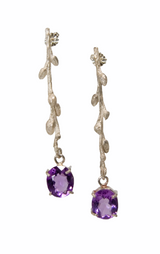 SS  budding branch earrings with faceted amethysts.