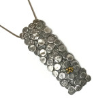 Fine silver and Sterling Silver Long Circle Pendant with 22k Gold