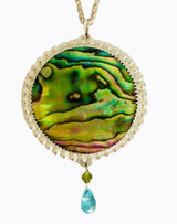 Sterling silver blue green Paul shell pendant with peridot & apatite drop