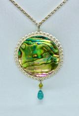 Sterling silver blue green Paul shell pendant