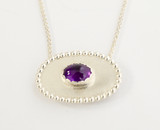 Sterling silver & oval cabochon amethyst pendant