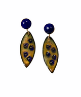 Gold and blue enamel leaf drops with lapis set in 14KGF