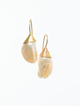 Unique, luscious feather pearls set in 14K yellow gold.  One of a kind heirlooms.
