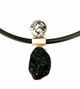 Sterling silver pendant with moldavite meteorite & tourmalinated quartz