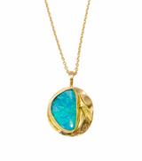 Boulder opal set in 14K yellow gold