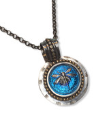 "Dragonfly Pendant  Blue iridescent cast glass with a dragonfly motif  -set in sterling silver with gold fill accent.  -18"" serling silver rolo chain  -approx 1.25"" x 1.5"""