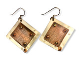 "Rustic Earrings - etched copper on sterling silver  brass rivets  sterling silver ear wires  1.25"" x 1.25"""