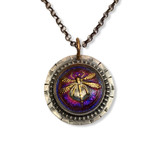 """Dragonfly Pendant -Magenta Iridescent Glass with sterling silver  gold filled bale  20"""" sterling silver rolo chain"""